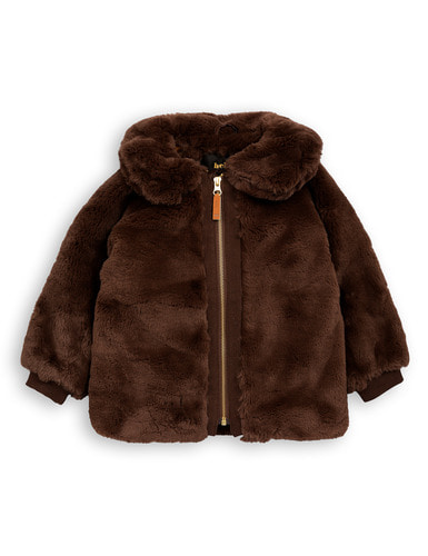 faux fur jacket brown