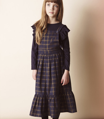 Dress INGRID KID check gold lurex navy ( 3Y, 4Y )