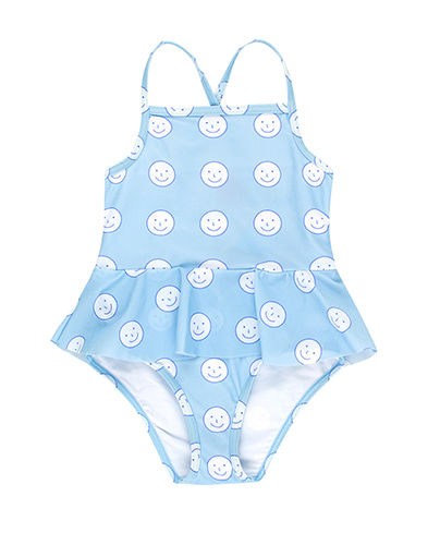 SS19-298 'HAPPY FACE' SWIMSUIT mild blue/off-white ( 4Y last )