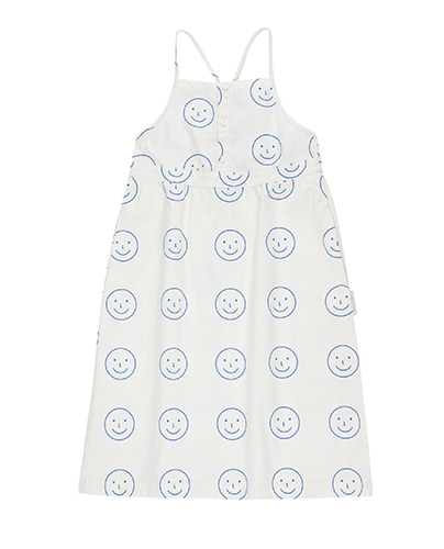 SS19-167 'HAPPY FACE' CROSS BACK DRESS off-white/ultramarine (6Y, 8Y)