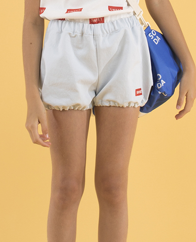 SS19-228 DENIM BALLOON SHORT light denim/red