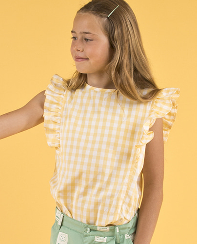 SS19-218 CHECK RUFFLES BLOUSE off-white/canary