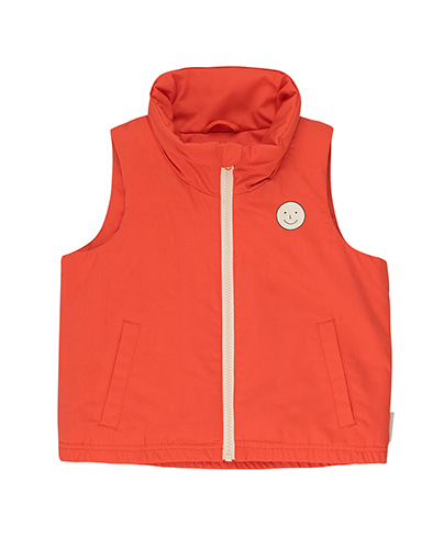 SS19-266 'HAPPY FACE' VEST red/cream