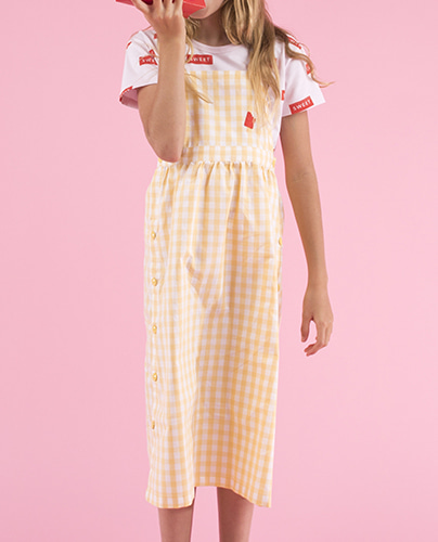 SS19-217 CHECK DRESS off-white/canary (8Y, 10Y)