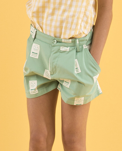 SS19-181 'SMILE' PLEAT SHORT emerald/off-white (4Y last)