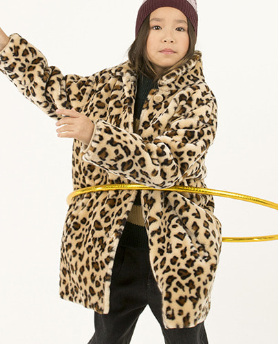 FAUX FUR COAT_light cream/brown ( 10Y last )