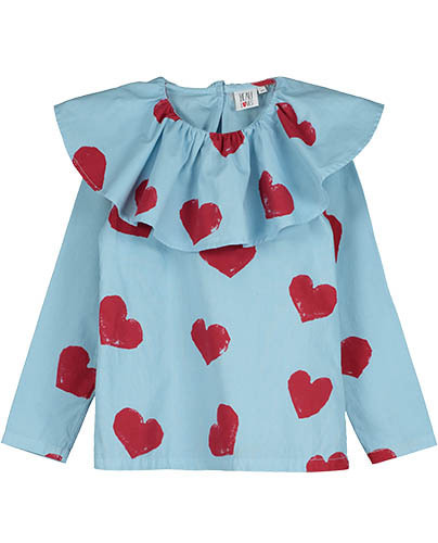Ruffle Collar Top_Light Blue_Hearts