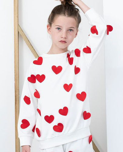 Relaxed Fit Sweater Natural Hearts ( 8-9Y last )
