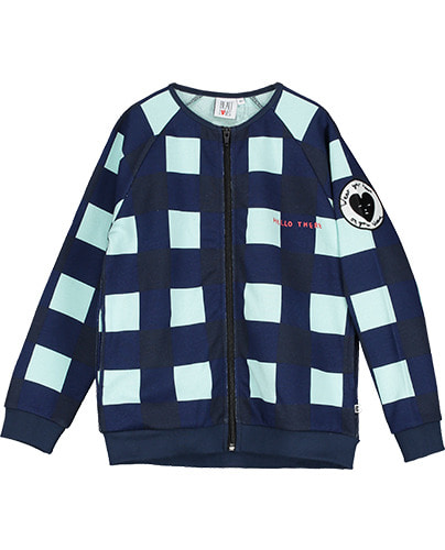 Zip Jacket Gingham Navy