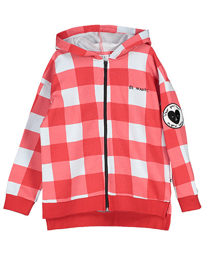 Zip Square Hoodie Gingham Red
