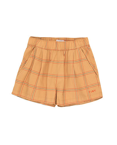 CHECK PLEATED SHORT_toffee ( 8Y last )