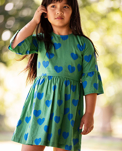Hearts flared sleeve dress_Green ( 92/98 last )