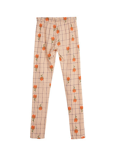 PRINTED LEGGINGS_FLOWERS_PALE PEACH ( 6Y last )