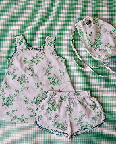 Set top and Panty + bag_Green flower ( 8Y last )