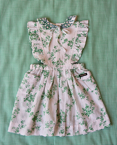 Apron Dress_Green flower