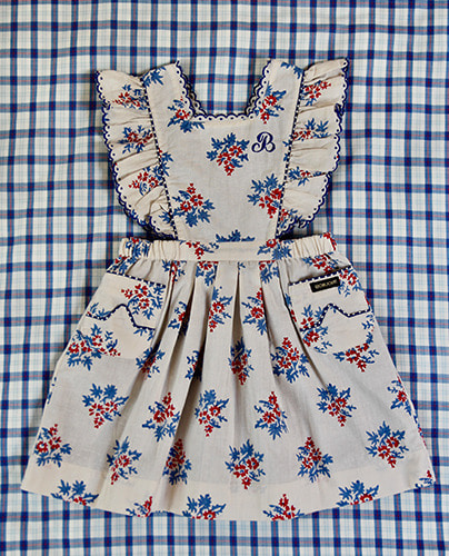 Apron Dress_Red blue flower