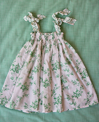 Long Skirt dress_Green flower print