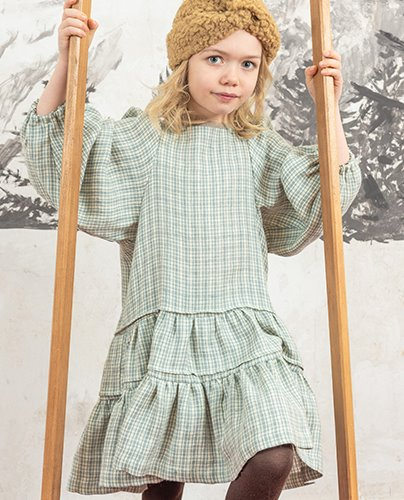 The Volant Dress_blue check ( 6Y, 8Y )
